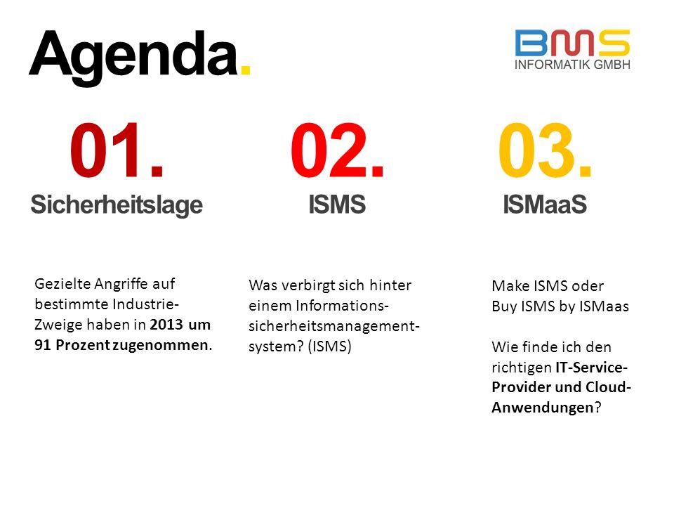 Agenda. 01. Sicherheitslage 02. ISMS 03. ISMaaS Gezielte Angriffe auf bestimmte Industrie- Zweige haben in 2013 um 91 Prozent zugenommen. Was verbirgt
