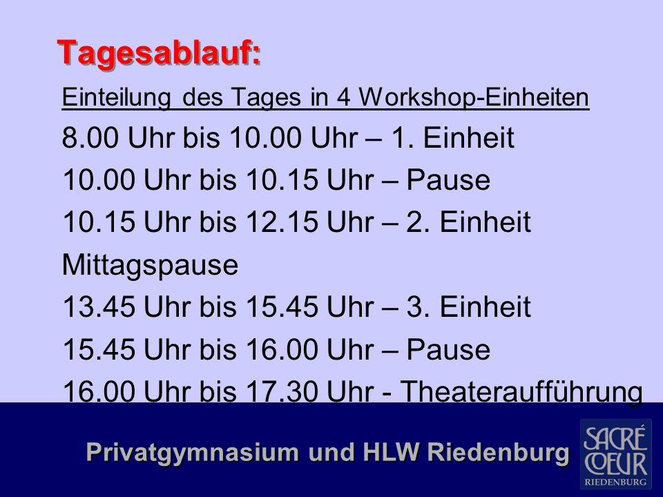Privatgymnasium und HLW Riedenburg Programm  Bereich Bewegung: Lauftraining, Nordic Walking, Tae-Bo, Pilates, Fitnesscenter, Pausenhofspiele, Spiele im Wasser, Video-Clip-Dancing, Tennisschnupperkurs