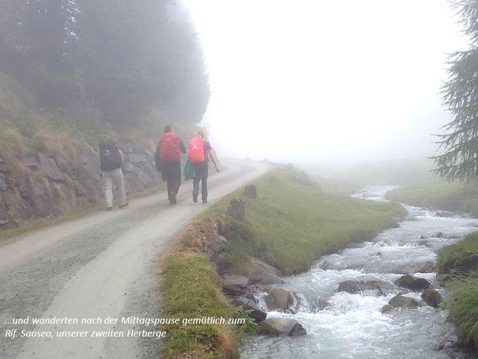 Weil es nicht weit ist, stiegen wir trotz ungünstigem Wetter hinauf zum Lagh da Saoseo.