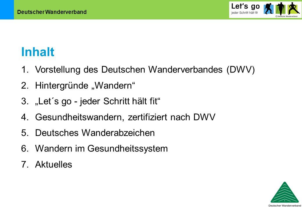 """Deutscher Wanderverband Inhalt 1.Vorstellung des Deutschen Wanderverbandes (DWV) 2.Hintergründe """"Wandern"""" 3.""""Let´s go - jeder Schritt hält fit"""" 4.Gesu"""