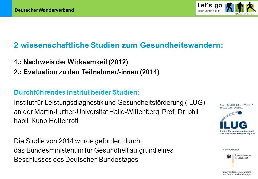 Deutscher Wanderverband 1.: Nachweis der Wirksamkeit (2012) 2.: Evaluation zu den Teilnehmer/-innen (2014) Durchführendes Institut beider Studien: Ins
