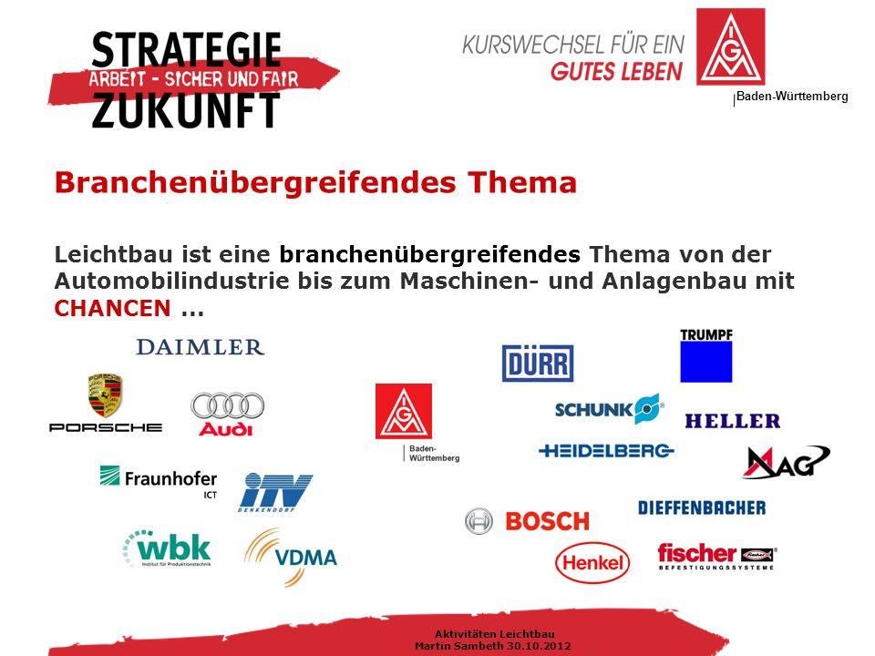 IG Metall Bezirksleitung Baden-Württemberg Aktivitäten Leichtbau Martin Sambeth 30.10.2012 Chancen und Herausforderungen