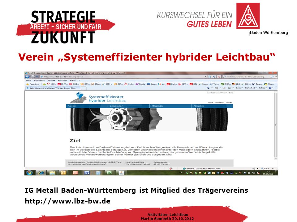 """IG Metall Bezirksleitung Baden-Württemberg Aktivitäten Leichtbau Martin Sambeth 30.10.2012 Verein """"Systemeffizienter hybrider Leichtbau IG Metall Baden-Württemberg ist Mitglied des Trägervereins http://www.lbz-bw.de"""