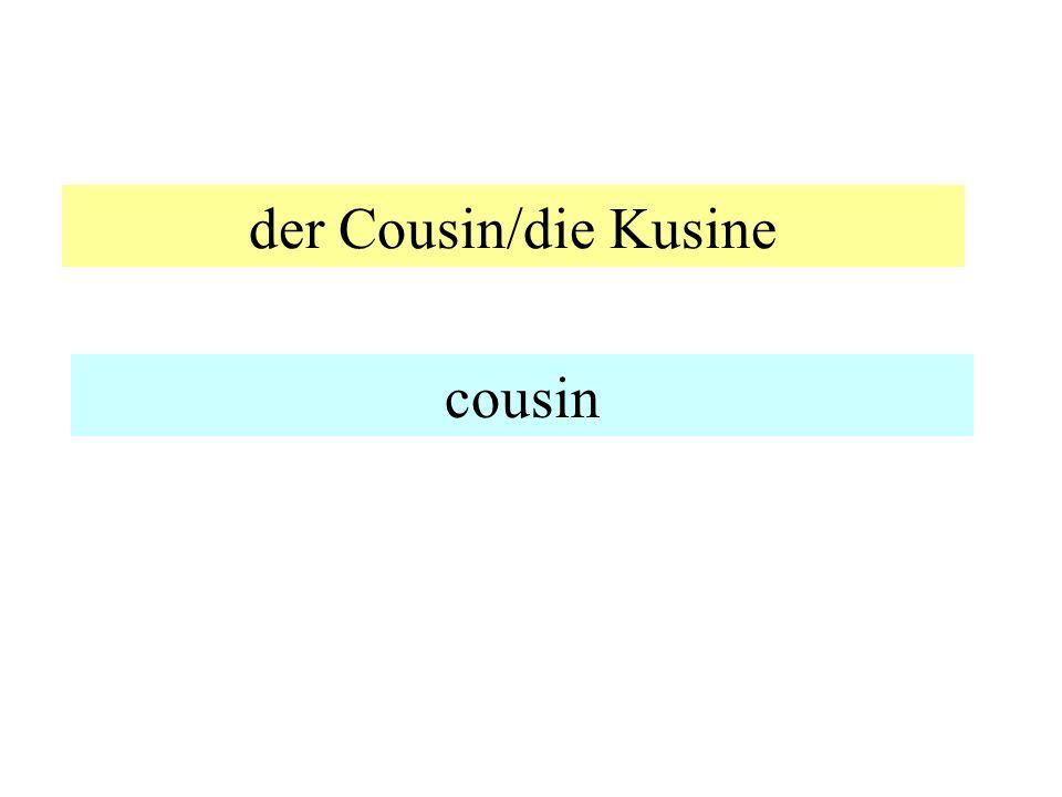 der Cousin/die Kusine cousin