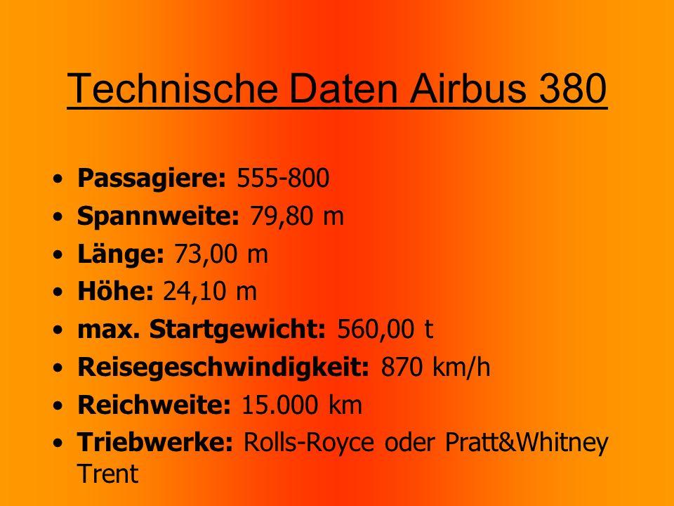 Technische Daten Airbus 380 Passagiere: 555-800 Spannweite: 79,80 m Länge: 73,00 m Höhe: 24,10 m max.