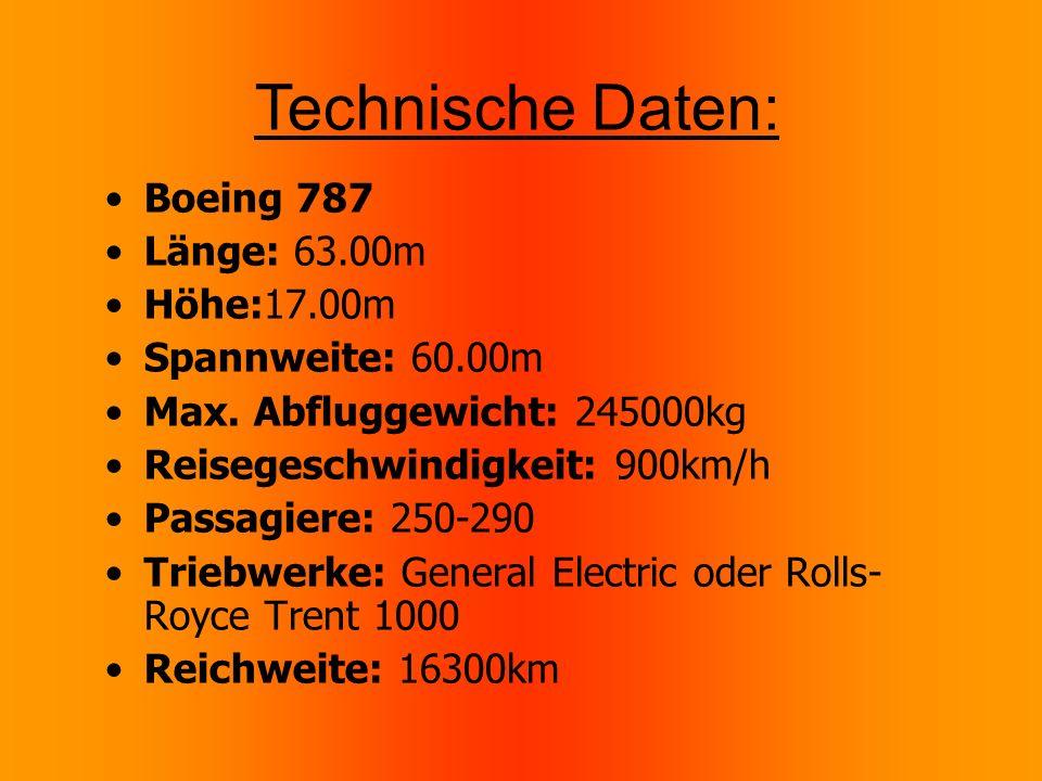Boeing 787 Länge: 63.00m Höhe:17.00m Spannweite: 60.00m Max.