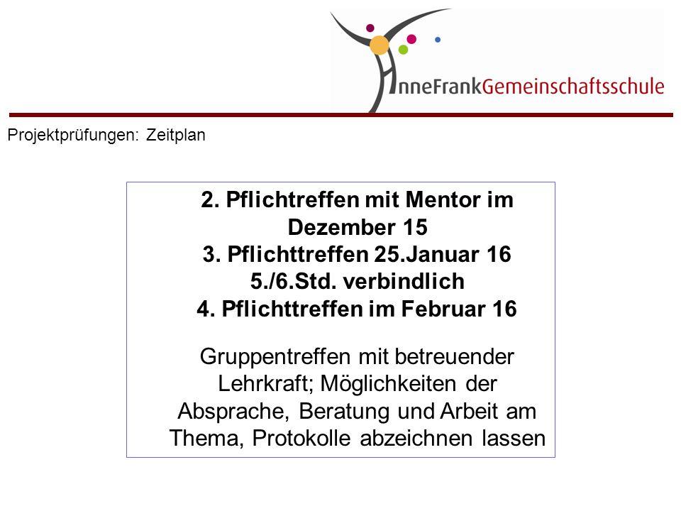 2. Pflichtreffen mit Mentor im Dezember 15 3. Pflichttreffen 25.Januar 16 5./6.Std. verbindlich 4. Pflichttreffen im Februar 16 Gruppentreffen mit bet