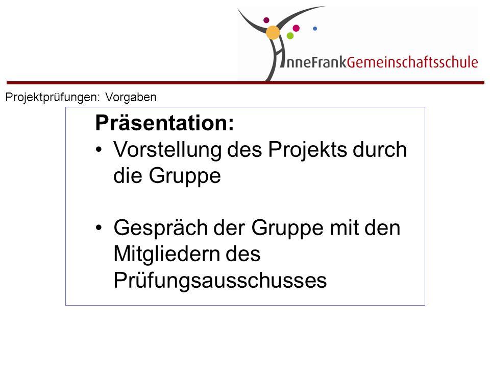 1.3. – 3.3.16 : Projektprüfungen (Präsentation) Projektprüfungen: Zeitplan