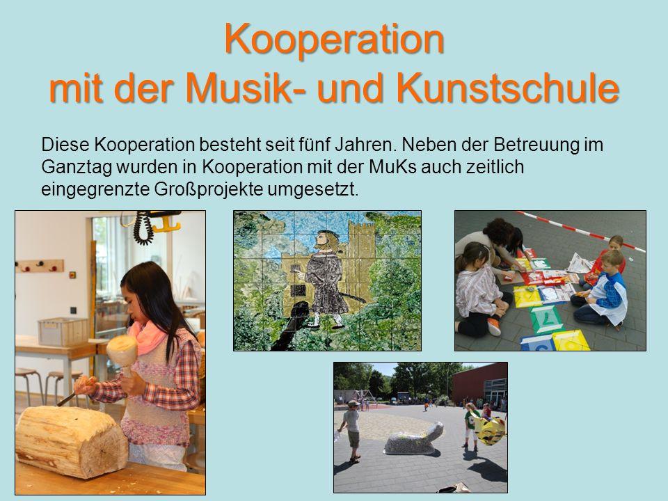 Kooperation mit der Musik- und Kunstschule Diese Kooperation besteht seit fünf Jahren.
