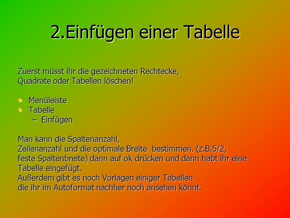 2.Einfügen einer Tabelle Zuerst müsst ihr die gezeichneten Rechtecke, Quadrate oder Tabellen löschen.