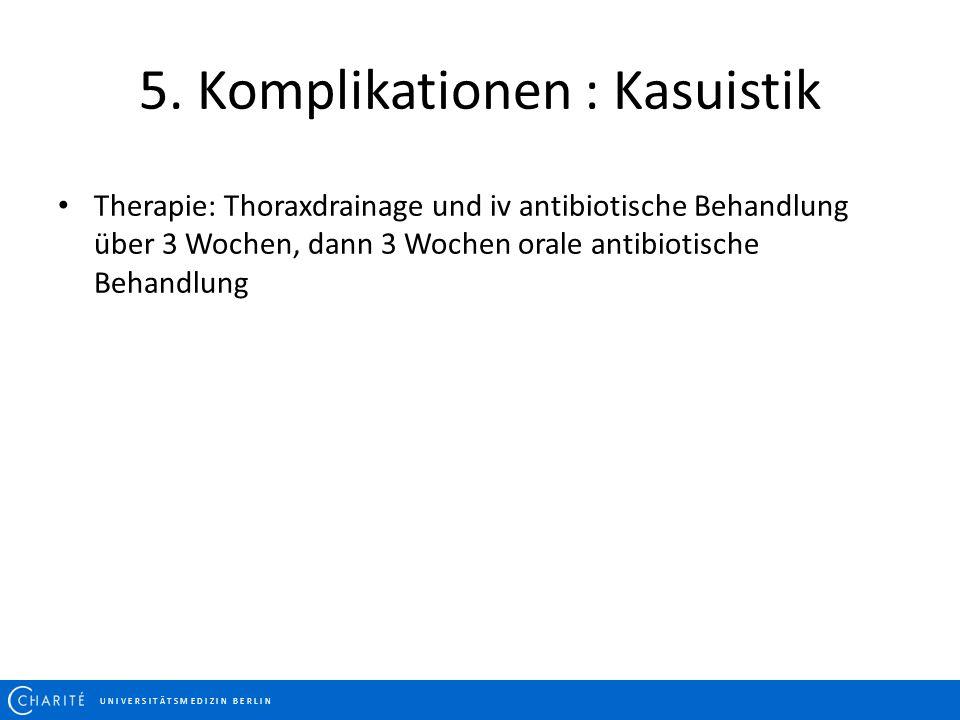 U N I V E R S I T Ä T S M E D I Z I N B E R L I N Therapie: Thoraxdrainage und iv antibiotische Behandlung über 3 Wochen, dann 3 Wochen orale antibiot