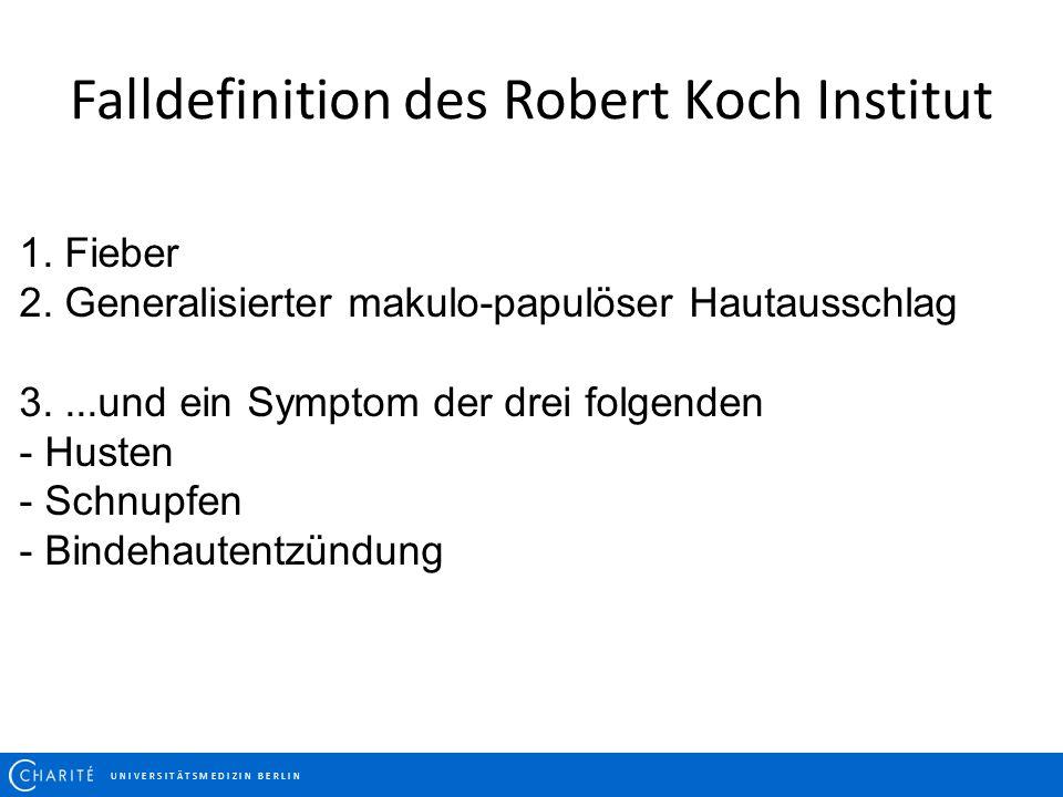Falldefinition des Robert Koch Institut U N I V E R S I T Ä T S M E D I Z I N B E R L I N 1. Fieber 2. Generalisierter makulo-papulöser Hautausschlag