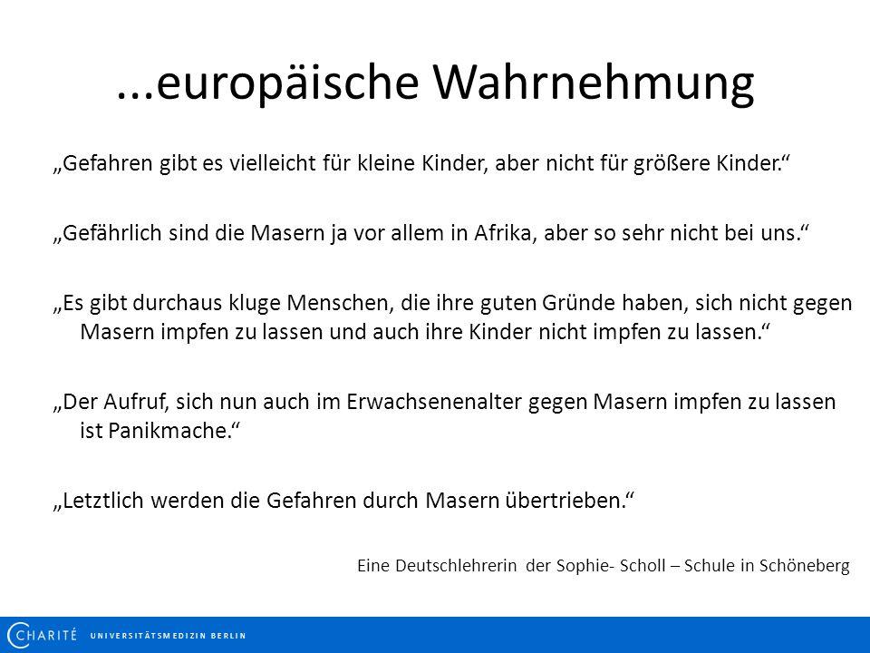 """...europäische Wahrnehmung U N I V E R S I T Ä T S M E D I Z I N B E R L I N """"Gefahren gibt es vielleicht für kleine Kinder, aber nicht für größere Ki"""