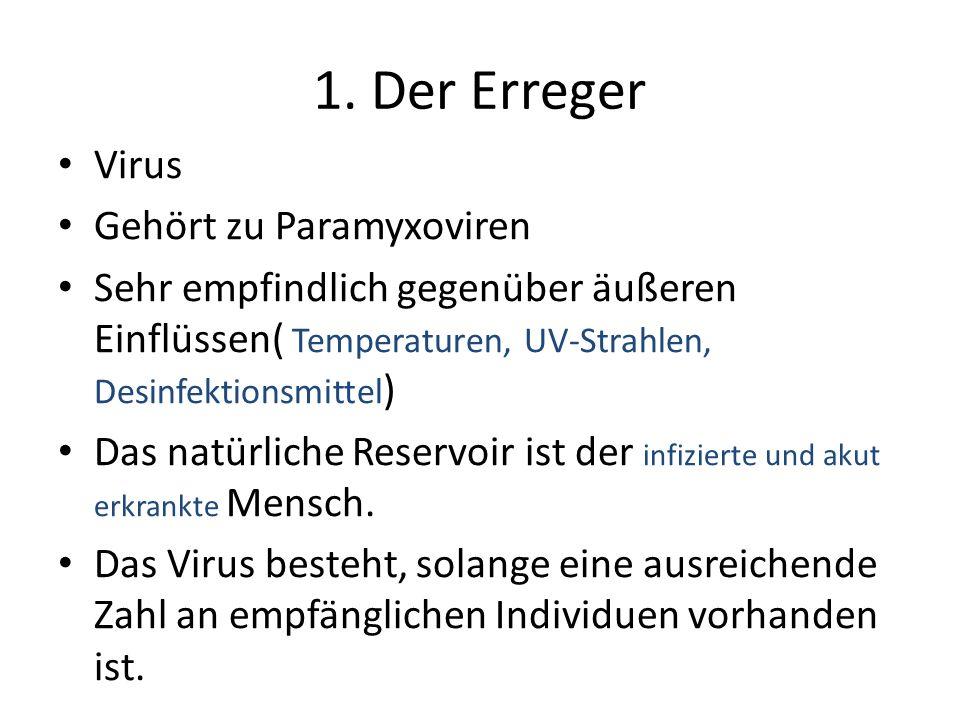 Virus Gehört zu Paramyxoviren Sehr empfindlich gegenüber äußeren Einflüssen( Temperaturen, UV-Strahlen, Desinfektionsmittel ) Das natürliche Reservoir ist der infizierte und akut erkrankte Mensch.