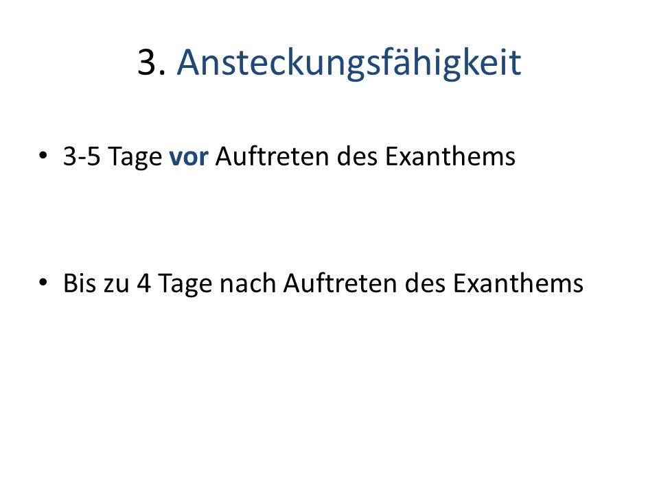 3-5 Tage vor Auftreten des Exanthems Bis zu 4 Tage nach Auftreten des Exanthems 3. Ansteckungsfähigkeit