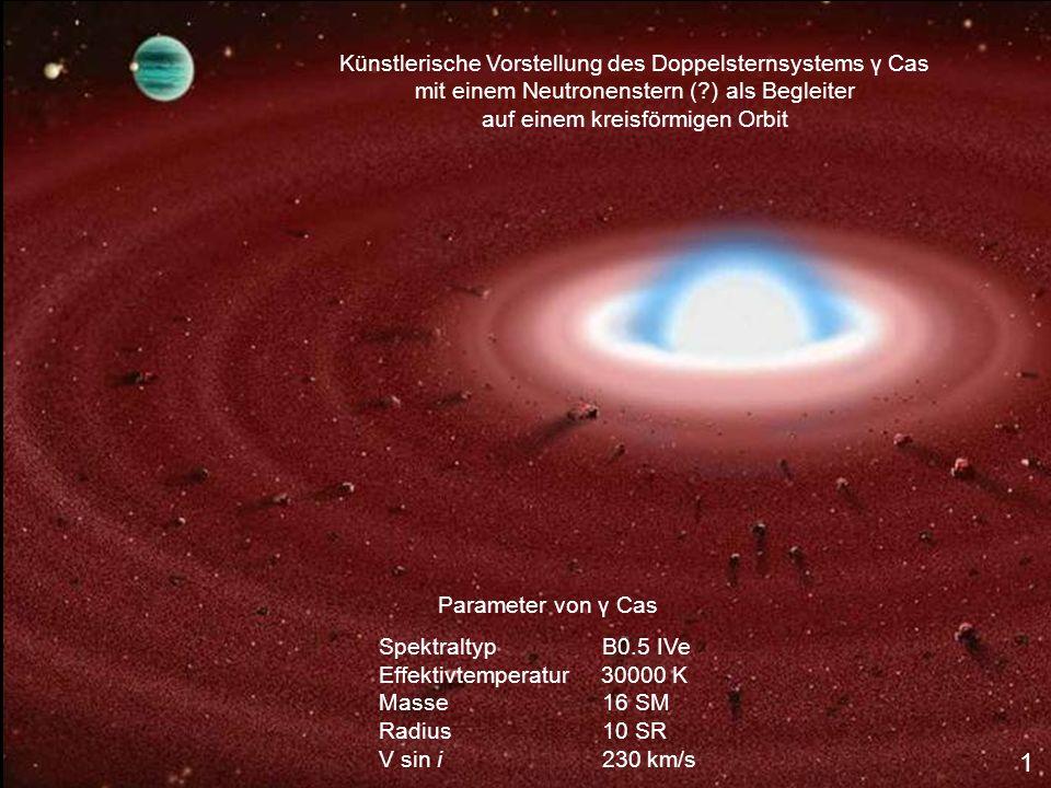 Künstlerische Vorstellung des Doppelsternsystems γ Cas mit einem Neutronenstern ( ) als Begleiter auf einem kreisförmigen Orbit Parameter von γ Cas Spektraltyp B0.5 IVe Effektivtemperatur 30000 K Masse 16 SM Radius 10 SR V sin i 230 km/s 1