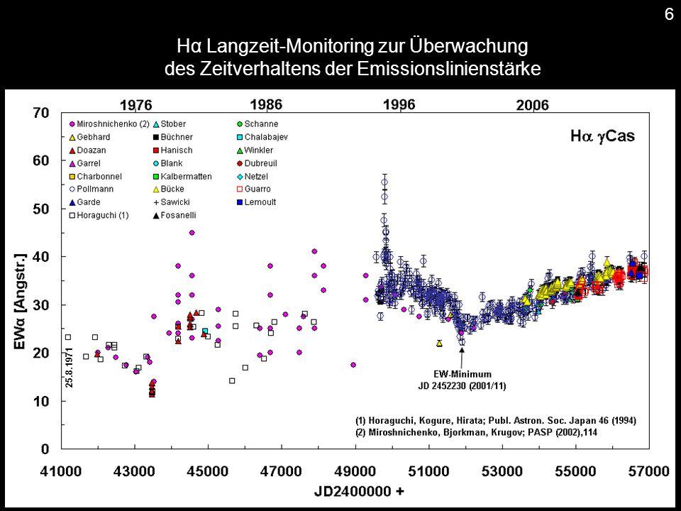 Hα Langzeit-Monitoring zur Überwachung des Zeitverhaltens der Emissionslinienstärke 25.8.1971 6