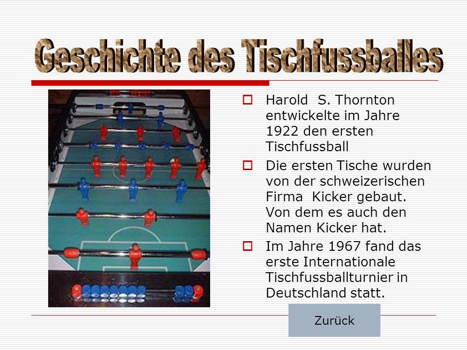  Harold S. Thornton entwickelte im Jahre 1922 den ersten Tischfussball  Die ersten Tische wurden von der schweizerischen Firma Kicker gebaut. Von de