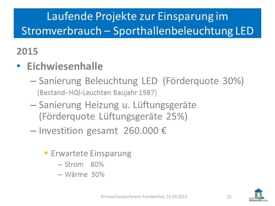 Laufende Projekte zur Einsparung im Stromverbrauch – Sporthallenbeleuchtung LED 2015 Eichwiesenhalle – Sanierung Beleuchtung LED (Förderquote 30%) (Be