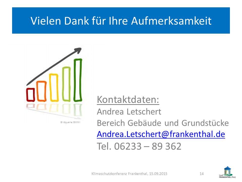 Vielen Dank für Ihre Aufmerksamkeit Klimaschutzkonferenz Frankenthal, 15.09.201514 Kontaktdaten: Andrea Letschert Bereich Gebäude und Grundstücke Andr