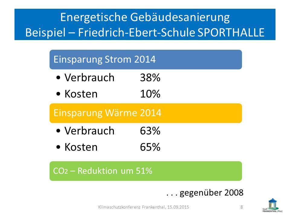 Energetische Gebäudesanierung Beispiel – Friedrich-Ebert-Schule SPORTHALLE Klimaschutzkonferenz Frankenthal, 15.09.20158 Einsparung Strom 2014 Verbrau