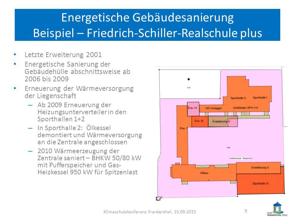 Energetische Gebäudesanierung Beispiel – Friedrich-Schiller-Realschule plus Senkung des Heizenergieverbrauchs von 2006 128 kWh/m²BGF über 108 kWh/m²BGF 2008 auf 68 kWh/m² BGF 2014 Deckung des Heizenergiebedarfs durch BHKW 55% - 65% CO 2 -Reduktion von 2008 360 t/a auf 2014 265 t/a Klimaschutzkonferenz Frankenthal, 15.09.201510 Stromverbrauch – Kennwert 14 kWh/m²a Deckung des Strombedarfs durch BHKW 64%  Reduzierung der Energiekosten um 35%