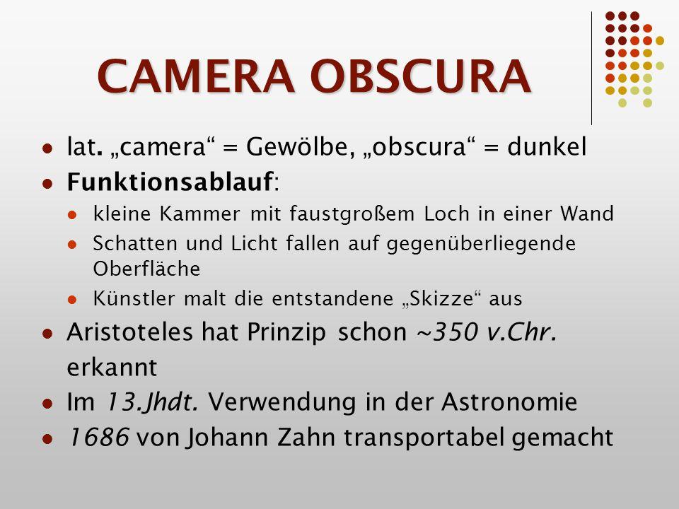 CAMERA OBSCURA Auch von Jan Vermeer verwendet: Detailreichtum und Proportionen beweisen Verwendung dieser Technik Ansicht von Delft (Niederlande) Mobile Camera Obscura (18.Jhdt.)