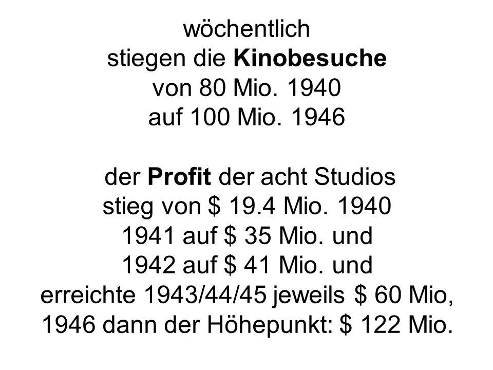 wöchentlich stiegen die Kinobesuche von 80 Mio. 1940 auf 100 Mio.