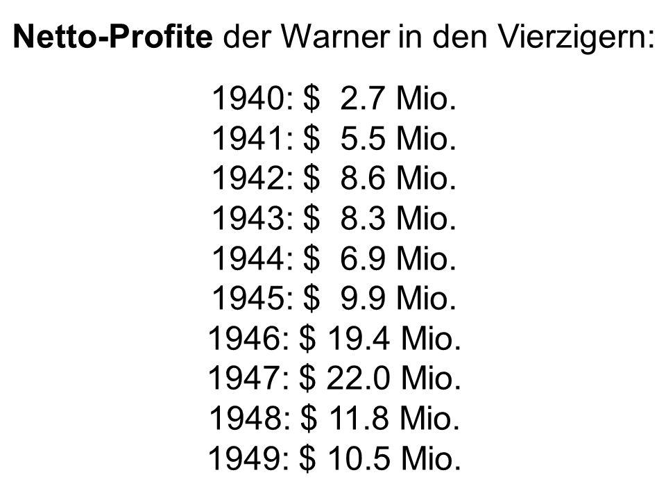 Netto-Profite der Warner in den Vierzigern: 1940: $ 2.7 Mio.
