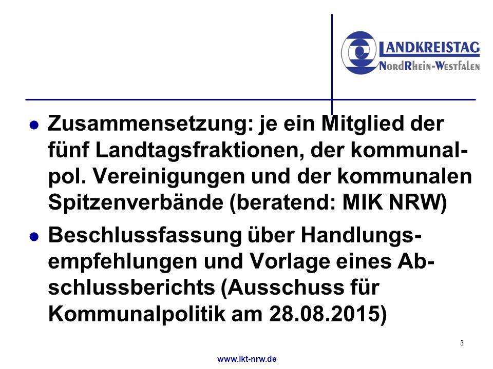 www.lkt-nrw.de Zusammensetzung: je ein Mitglied der fünf Landtagsfraktionen, der kommunal- pol.