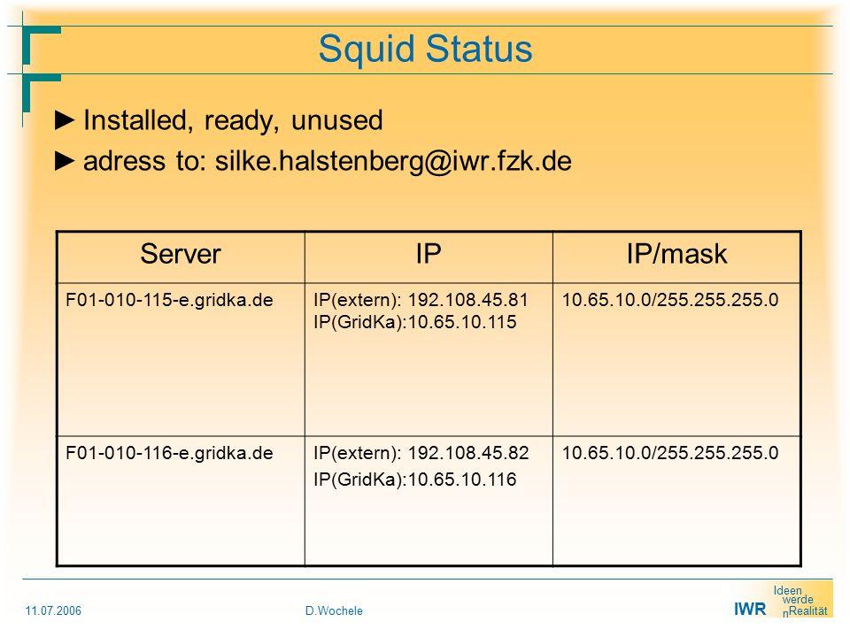 IWR Ideen werde n Realität 11.07.2006D.Wochele Squid Status ► Installed, ready, unused ► adress to: silke.halstenberg@iwr.fzk.de ServerIPIP/mask F01-010-115-e.gridka.de IP(extern): 192.108.45.81 IP(GridKa):10.65.10.115 10.65.10.0/255.255.255.0 F01-010-116-e.gridka.deIP(extern): 192.108.45.82 IP(GridKa):10.65.10.116 10.65.10.0/255.255.255.0