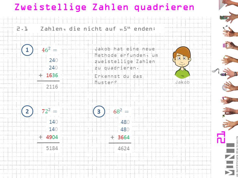 """2.1Zahlen, die nicht auf """"5"""" enden: Zweistellige Zahlen quadrieren Jakob Jakob hat eine neue Methode erfunden, um zweistellige Zahlen zu quadrieren. E"""