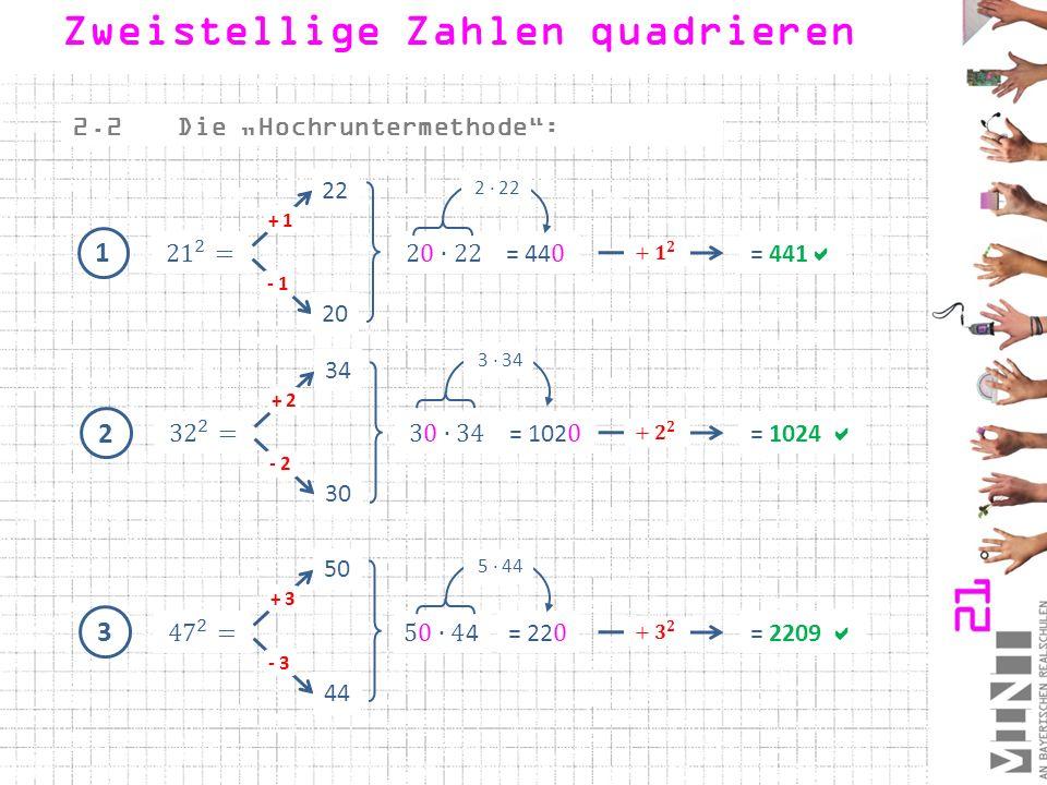 """1 2.2Die """"Hochruntermethode"""": 20 - 1 + 1 22 = 441  2 30 - 2 + 2 34 = 1024  3 44 - 3 + 3 50 = 2209  Zweistellige Zahlen quadrieren 2 · 22 3 · 34 5 ·"""