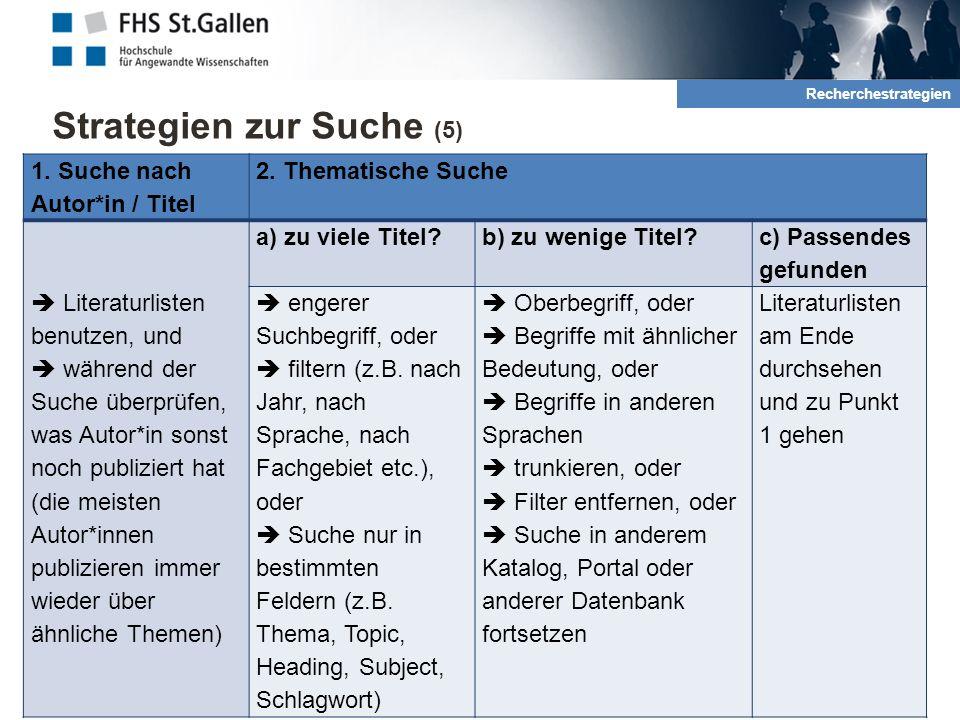 Strategien zur Suche (5) 10 2. Rechrche und QuellenRecherchestrategien 1.