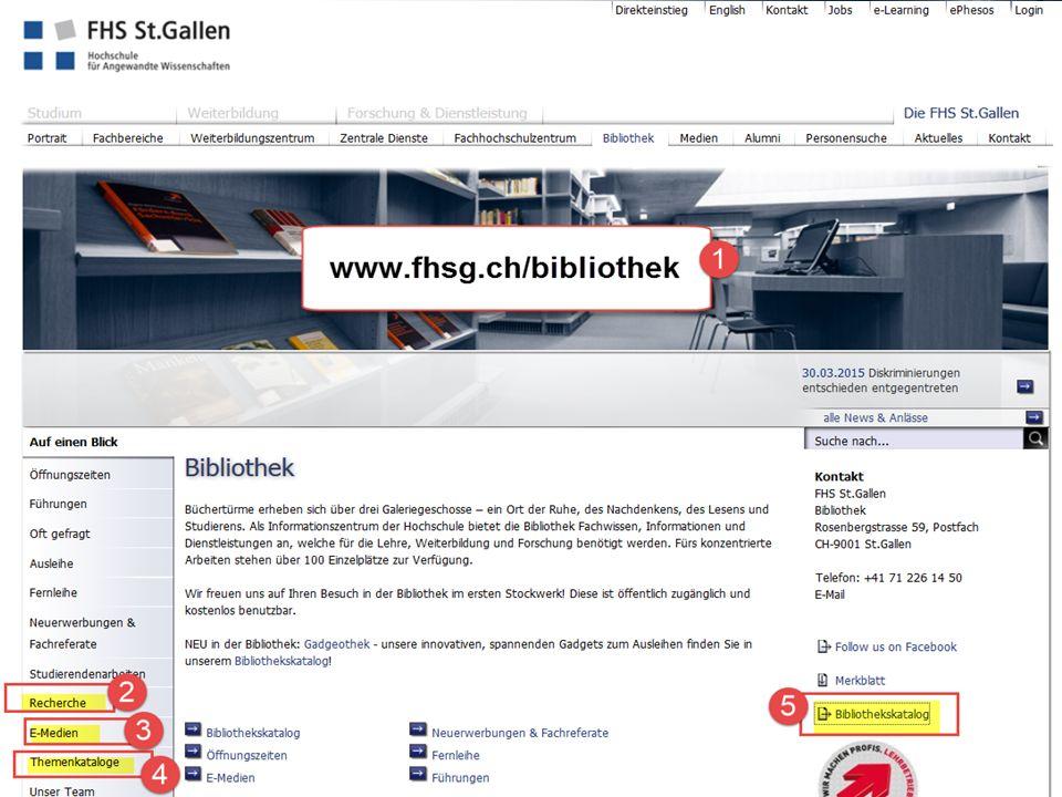 Bibliotheks-Homepage als Ausgangspunkt für die Recherche 13 2.