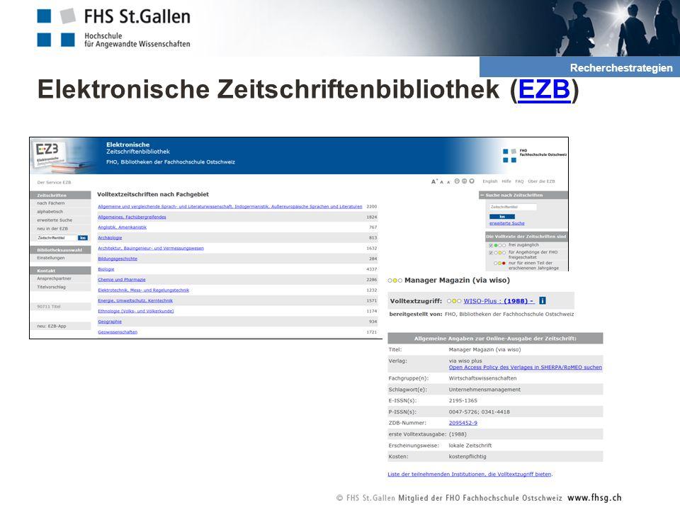 Elektronische Zeitschriftenbibliothek (EZB)EZB 2. Recherche und Quellen Recherchestrategien