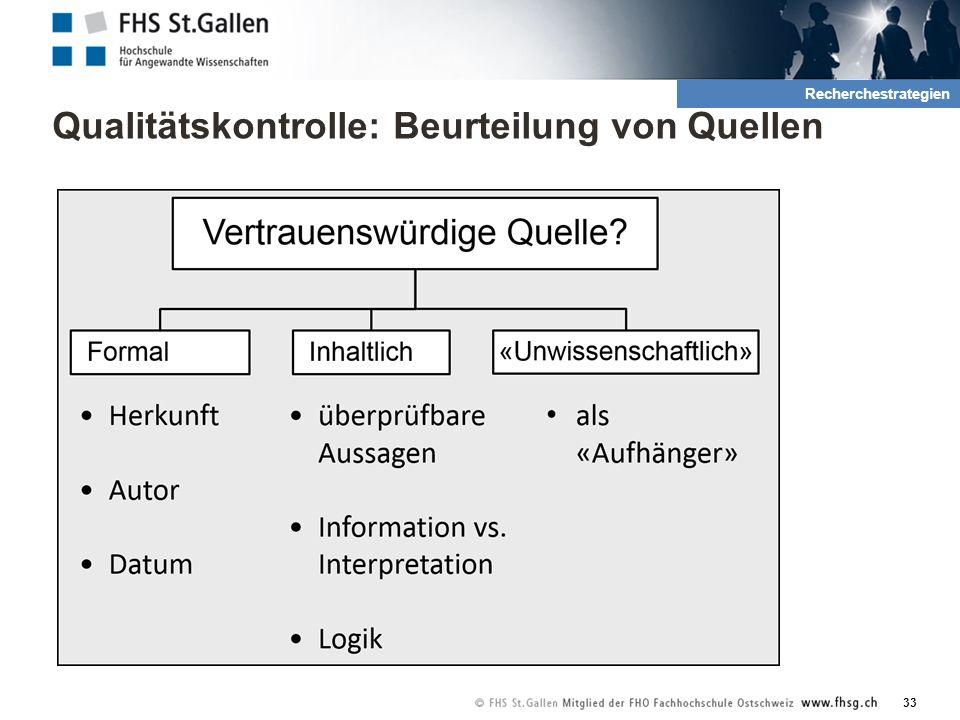 Qualitätskontrolle: Beurteilung von Quellen 33 2. Recherche und QuellenRecherchestrategien