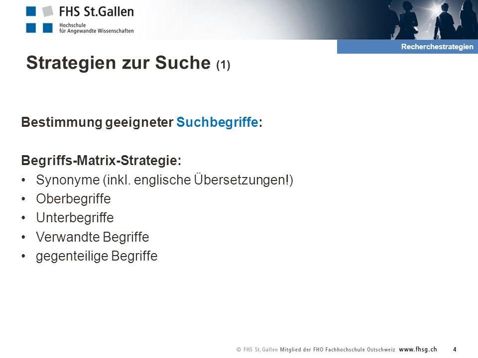 Strategien zur Suche (1) Bestimmung geeigneter Suchbegriffe: Begriffs-Matrix-Strategie: Synonyme (inkl.