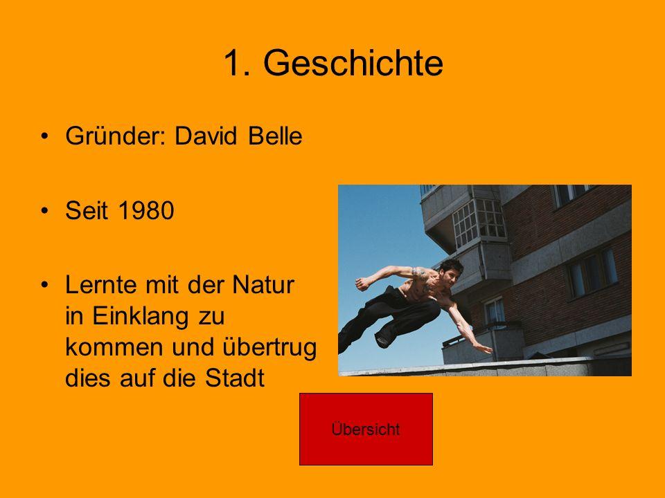1. Geschichte Gründer: David Belle Seit 1980 Lernte mit der Natur in Einklang zu kommen und übertrug dies auf die Stadt Übersicht