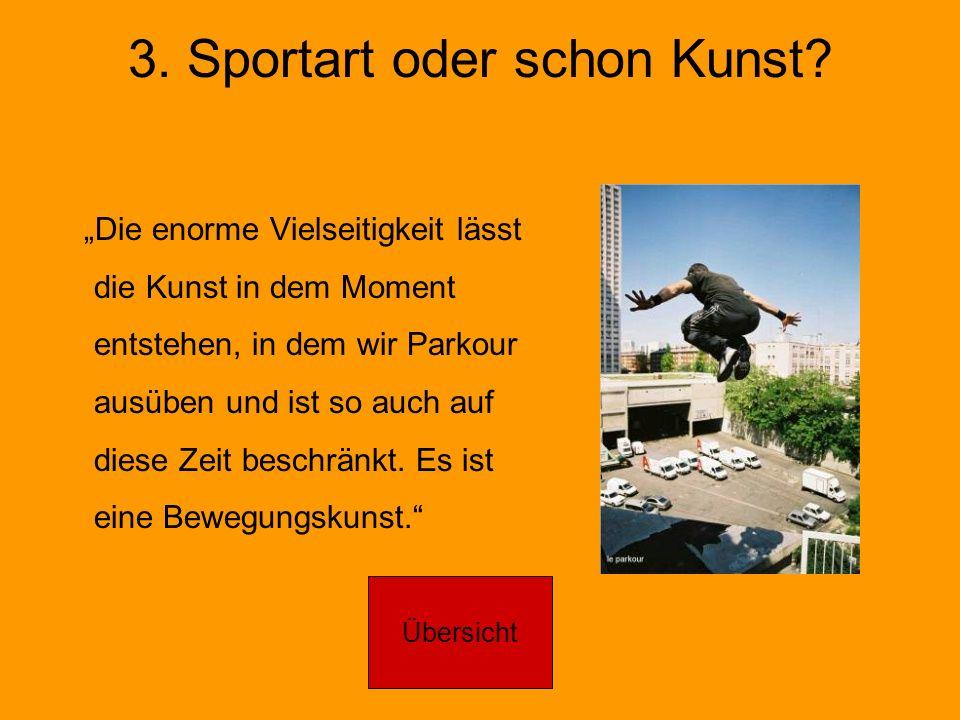 """3. Sportart oder schon Kunst? """"Die enorme Vielseitigkeit lässt die Kunst in dem Moment entstehen, in dem wir Parkour ausüben und ist so auch auf diese"""