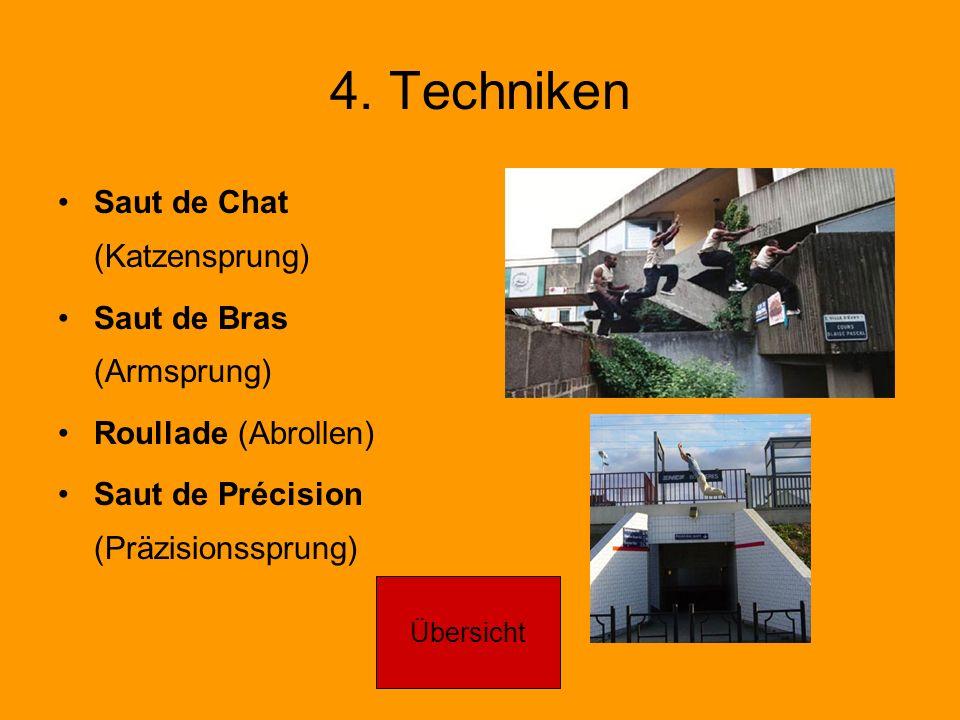4. Techniken Saut de Chat (Katzensprung) Saut de Bras (Armsprung) Roullade (Abrollen) Saut de Précision (Präzisionssprung) Übersicht
