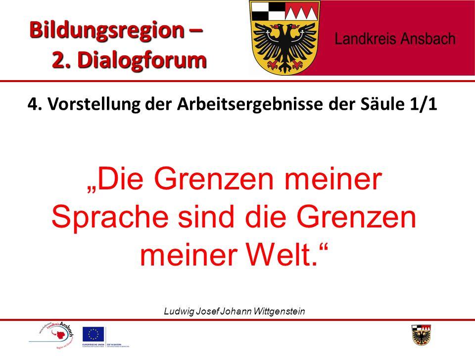 """""""Die Grenzen meiner Sprache sind die Grenzen meiner Welt."""" Ludwig Josef Johann Wittgenstein Bildungsregion – 2. Dialogforum 4. Vorstellung der Arbeits"""