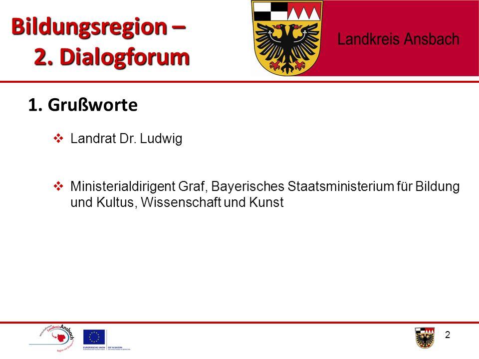2  Landrat Dr. Ludwig  Ministerialdirigent Graf, Bayerisches Staatsministerium für Bildung und Kultus, Wissenschaft und Kunst 1. Grußworte Bildungsr