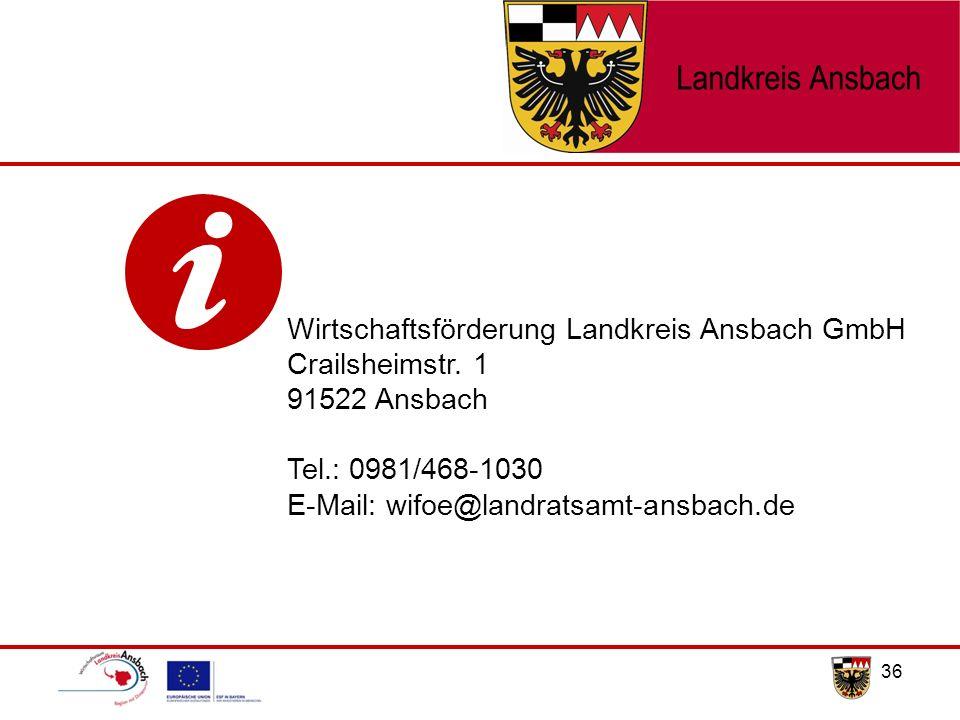 36 Wirtschaftsförderung Landkreis Ansbach GmbH Crailsheimstr. 1 91522 Ansbach Tel.: 0981/468-1030 E-Mail: wifoe@landratsamt-ansbach.de
