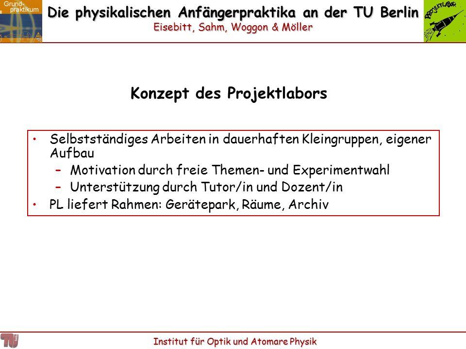 Die physikalischen Anfängerpraktika an der TU Berlin Eisebitt, Sahm, Woggon & Möller Institut für Optik und Atomare Physik Konzept des Projektlabors S