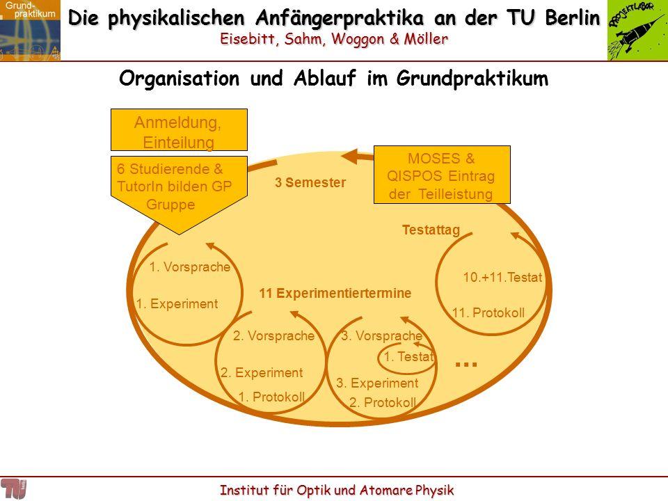 Die physikalischen Anfängerpraktika an der TU Berlin Eisebitt, Sahm, Woggon & Möller Institut für Optik und Atomare Physik Organisation und Ablauf im