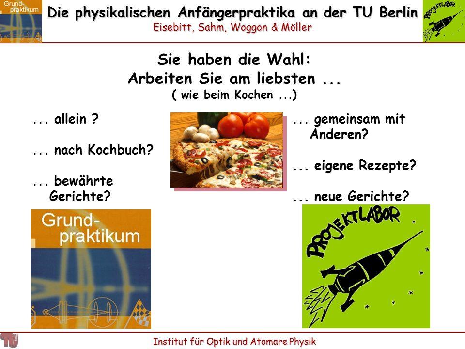 Die physikalischen Anfängerpraktika an der TU Berlin Eisebitt, Sahm, Woggon & Möller Institut für Optik und Atomare Physik Sie haben die Wahl: Arbeite