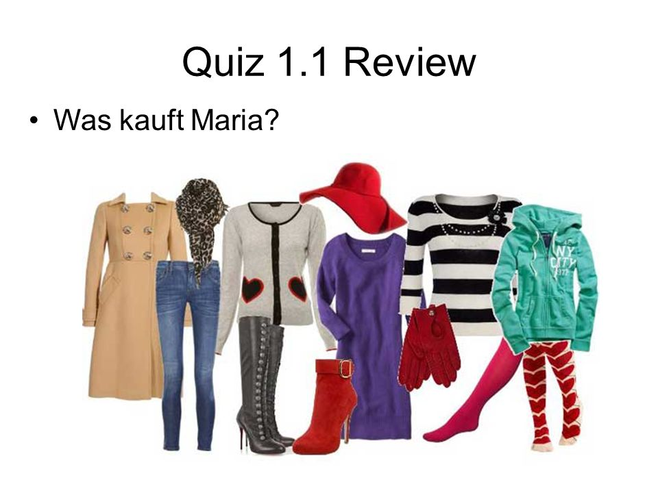 Quiz 1.1 Review Was kauft Maria