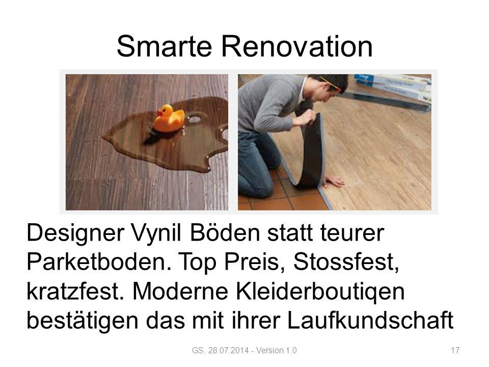 Smarte Renovation Designer Vynil Böden statt teurer Parketboden.