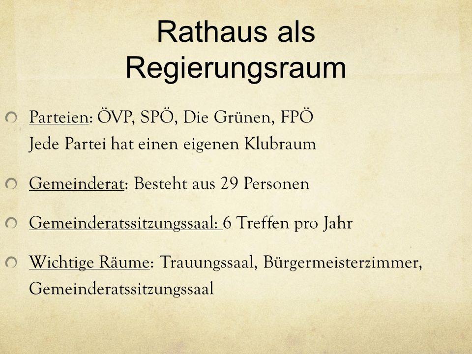 Rathaus als Regierungsraum Parteien: ÖVP, SPÖ, Die Grünen, FPÖ Jede Partei hat einen eigenen Klubraum Gemeinderat: Besteht aus 29 Personen Gemeinderat